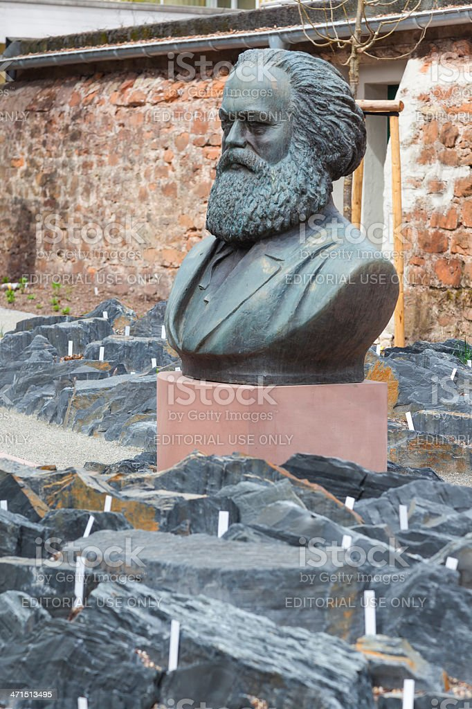 Statue of Karl Marx at the Karl-Marx-Haus, Trier, Germany stock photo
