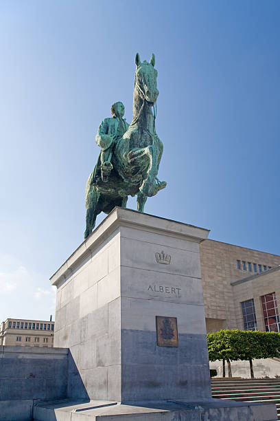 Statue of King Albert 1st in Brussels stock photo