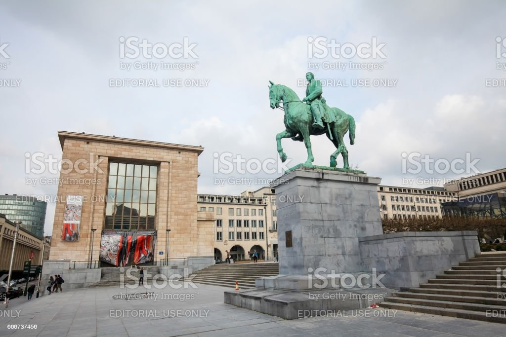 Statue of King Albert I at the Mont des Arts in Brussels stock photo
