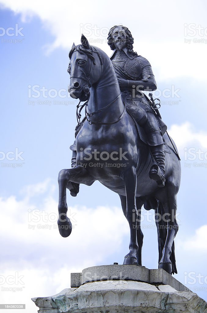 Statue of King Charles I in London, England stock photo