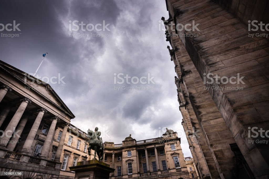 Statue of King Charles II in Parliament Square, Edinburgh Scotland stock photo