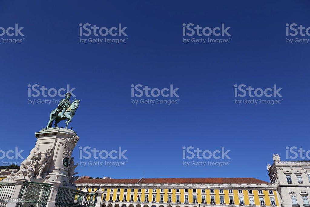 \'The statue of King JosA I in the PraAa do ComArcio , Lisbon,...