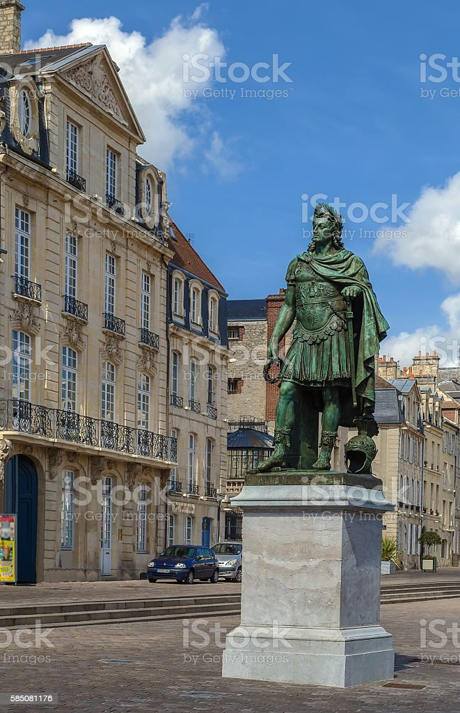 Statue of king Louis XIV, Caen, France stock photo