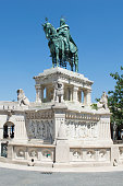 Budapest, Hungary: Statue of King St Stephen, first Christian king in Hungary, Fisherman's Bastion in Buda