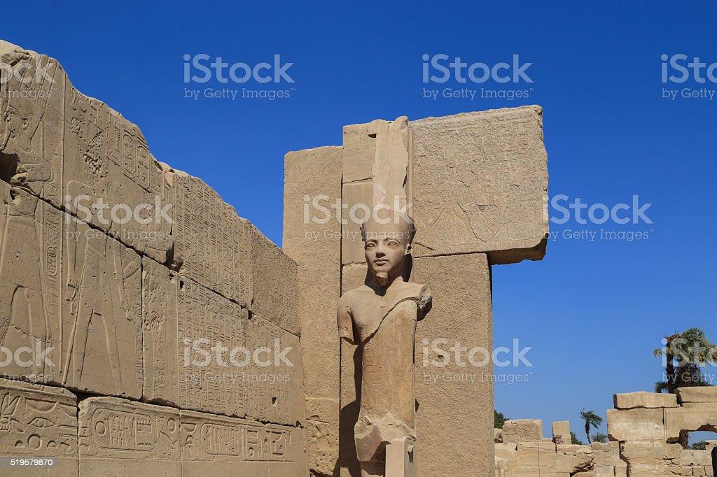 Statue of king tut, karnak temple in Egypt stock photo