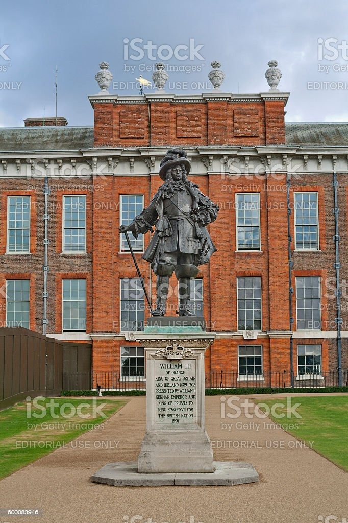 Statue of King William III in Kensington gardens in London stock photo