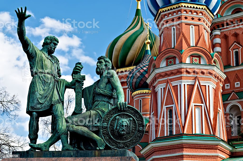 Statue of Kuzma Minin and Dmitry Pozharsky stock photo