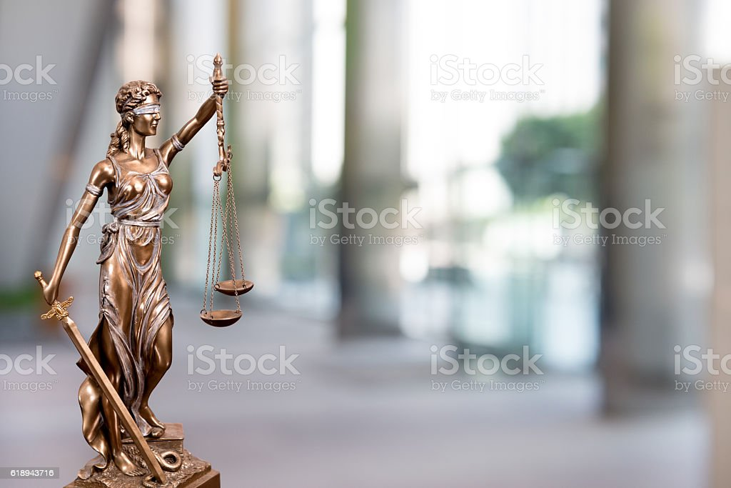 Statue Of Lady Justice In An Office stock photo