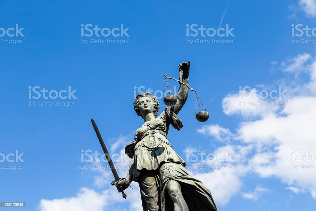 Statue of Lady Justice  in Frankfurt, Germany stock photo