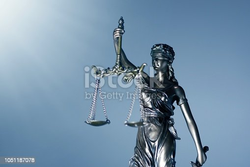 Statue Of Lady Justice - low angle view with copy space.