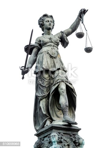 Statue of Lady Justice (Justitia) isolated