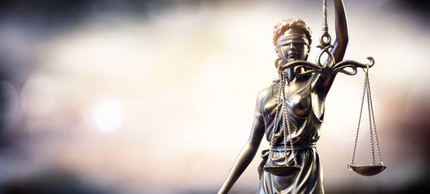statue of lady justice - scale stock photos and pictures