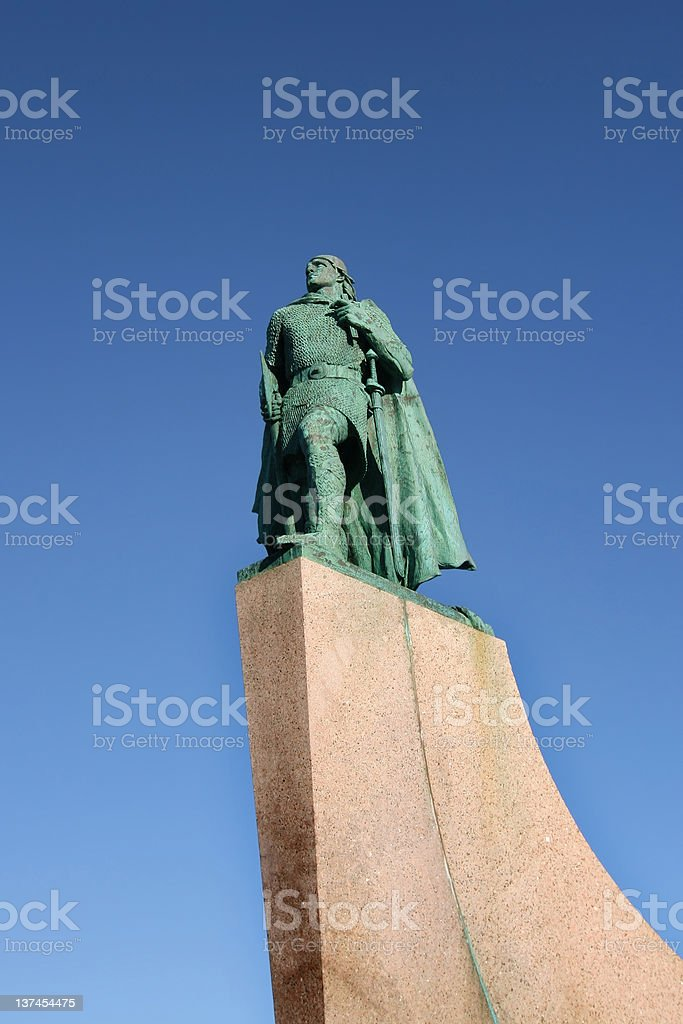 Statue of Leif Eriksson stock photo