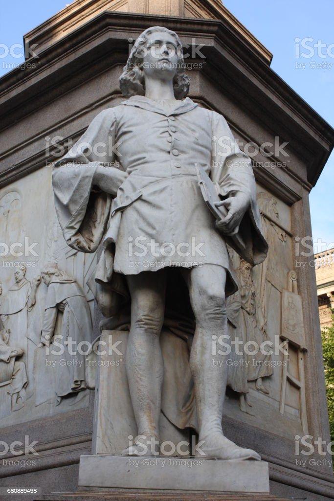 Statue of Leonardo Davinci in Piazza della Scala, Milan, Italy royalty-free stock photo