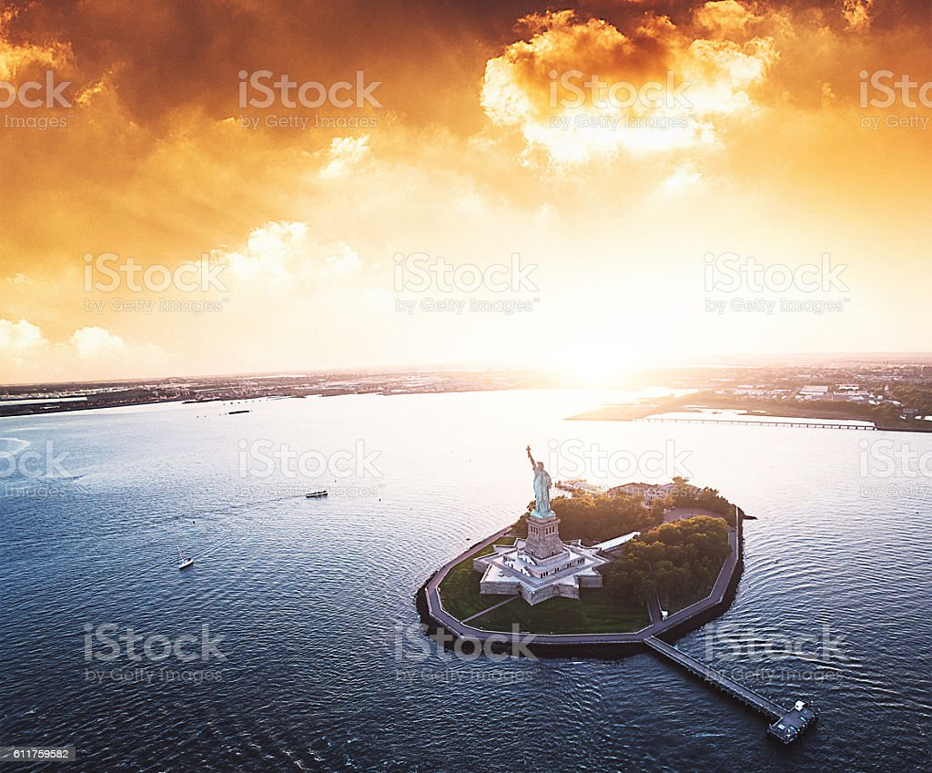 statue of liberty aerial view stock photo