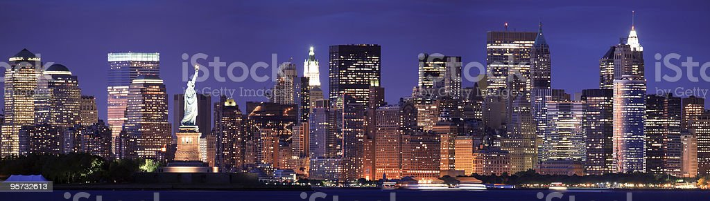 Statue of Liberty against New York Skyline royalty-free stock photo
