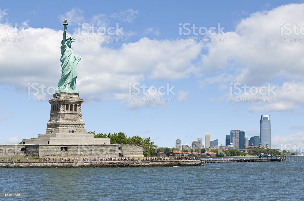Statue of Liberty and Jersey City royalty-free stock photo