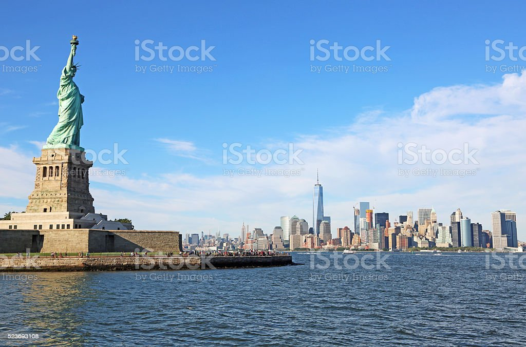 Statue of Liberty and Manhattan stock photo