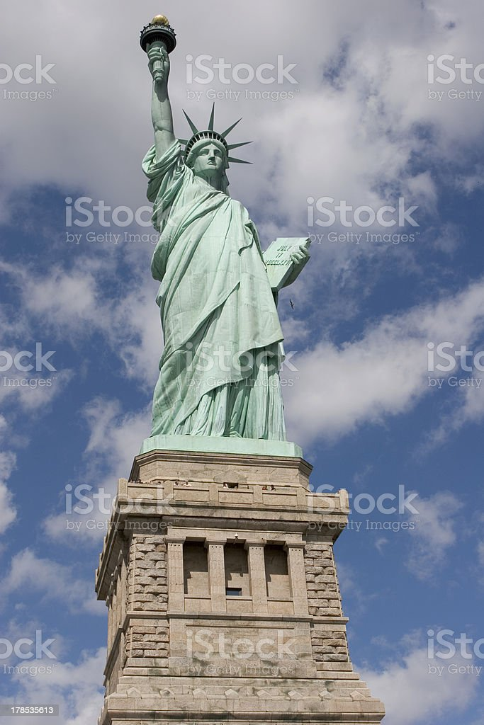 Statue of Liberty and Pedestal from front. royalty-free stock photo