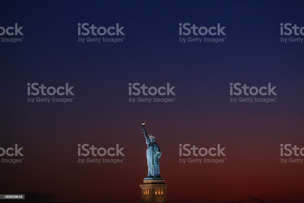 Statue of Liberty at dusk - New York City stock photo