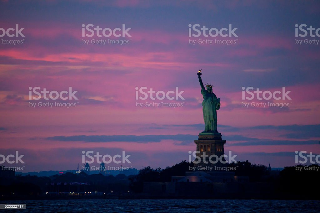 Statue of Liberty at Dusk stock photo