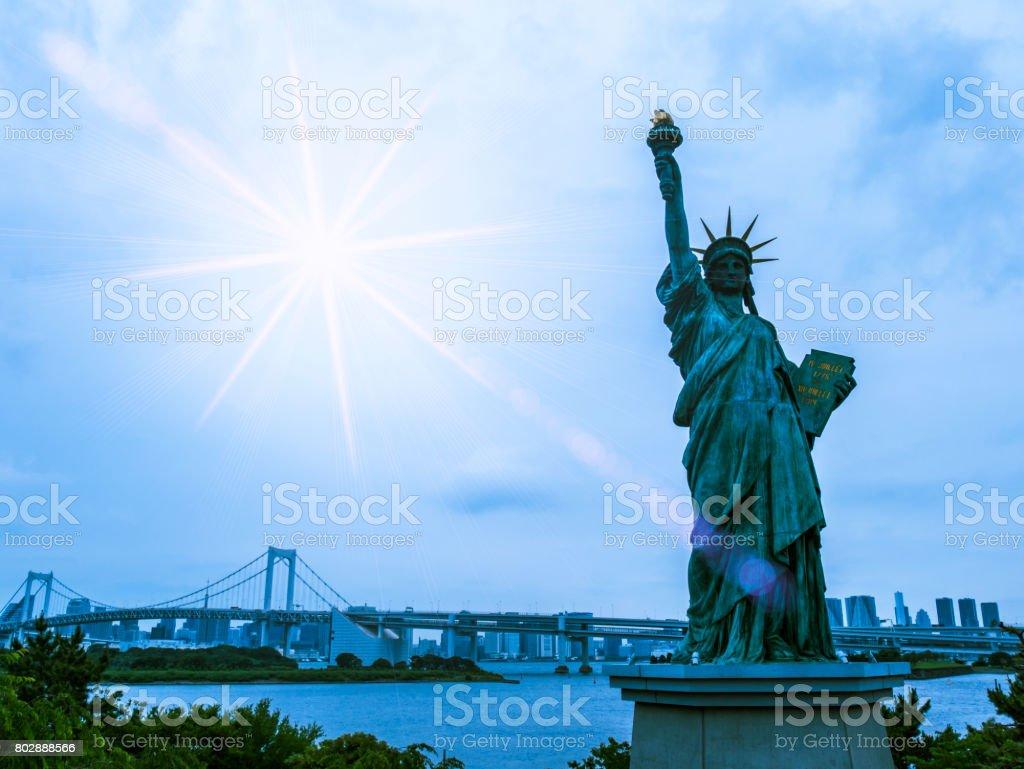 Statue of Liberty at Odaiba : Tokyo, Japan. stock photo