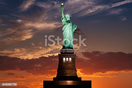 Statue of Liberty at Sunset, New York City.