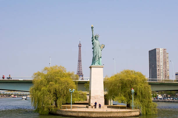 Statue of Liberty at the Seine in Paris stock photo