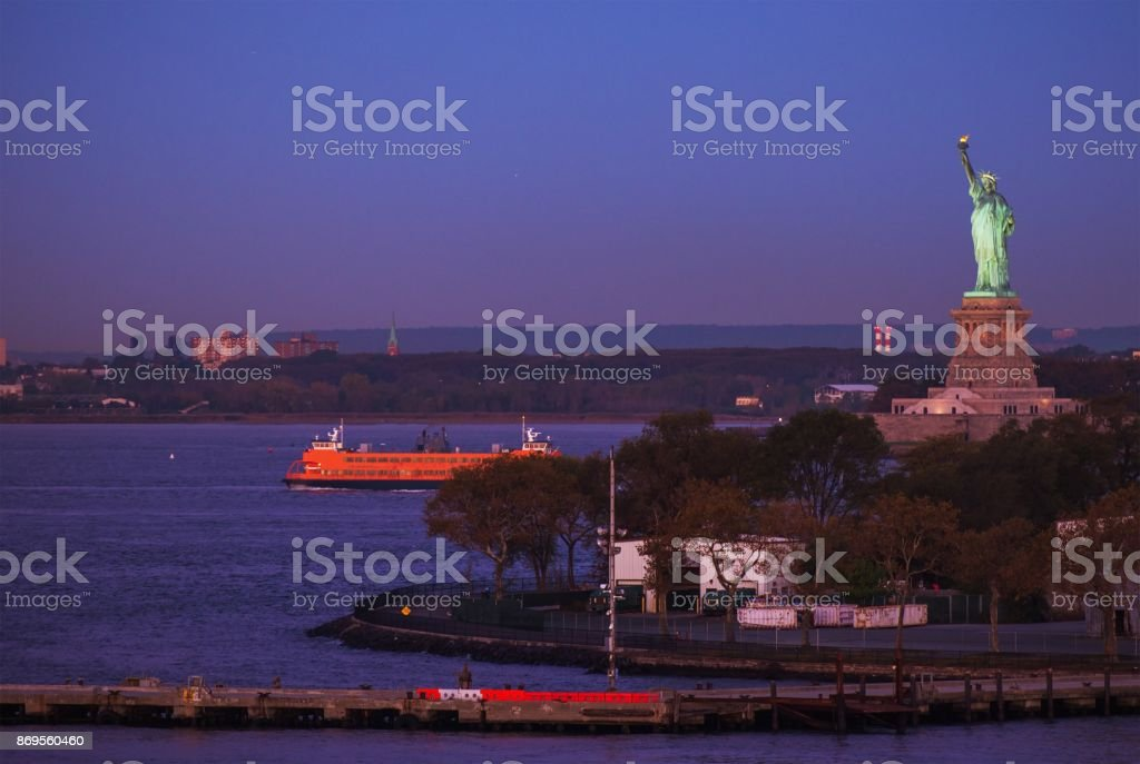 Statue of Liberty Before Sunrise stock photo