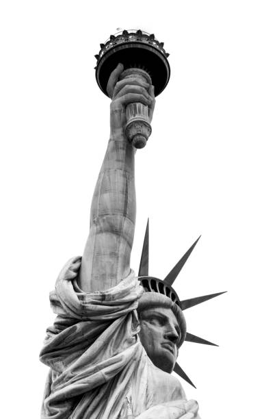 Statue of Liberty Black and White Detail stock photo