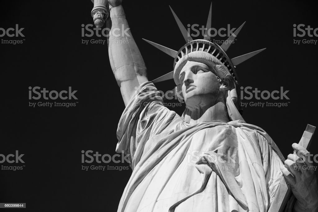 Statue of Liberty, black and white with black sky in New York stock photo