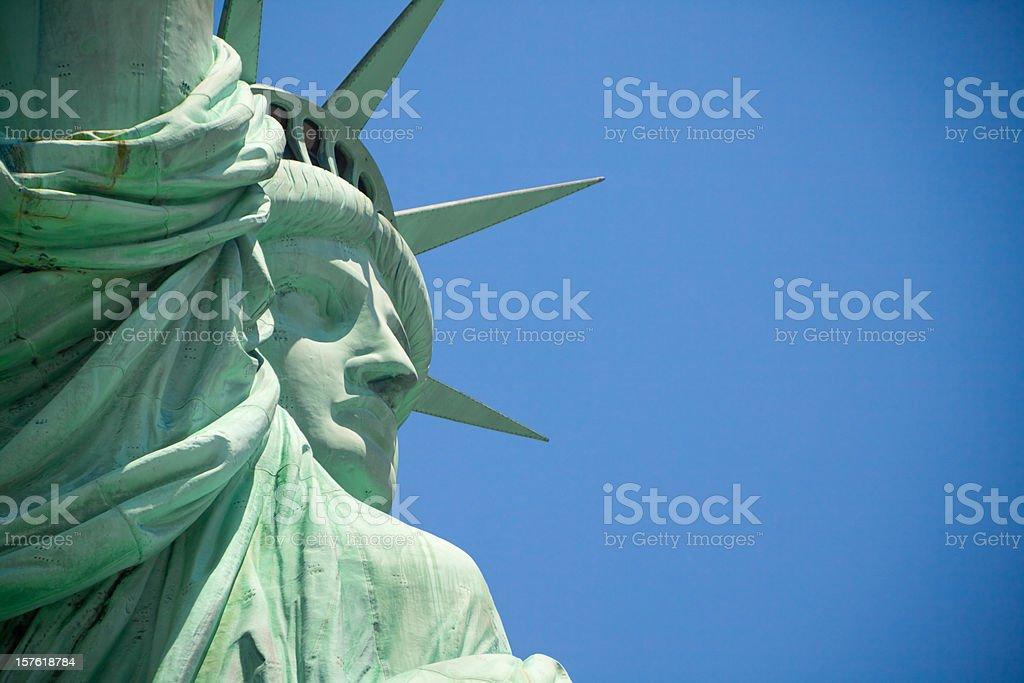 Statue of liberty close up face stock photo
