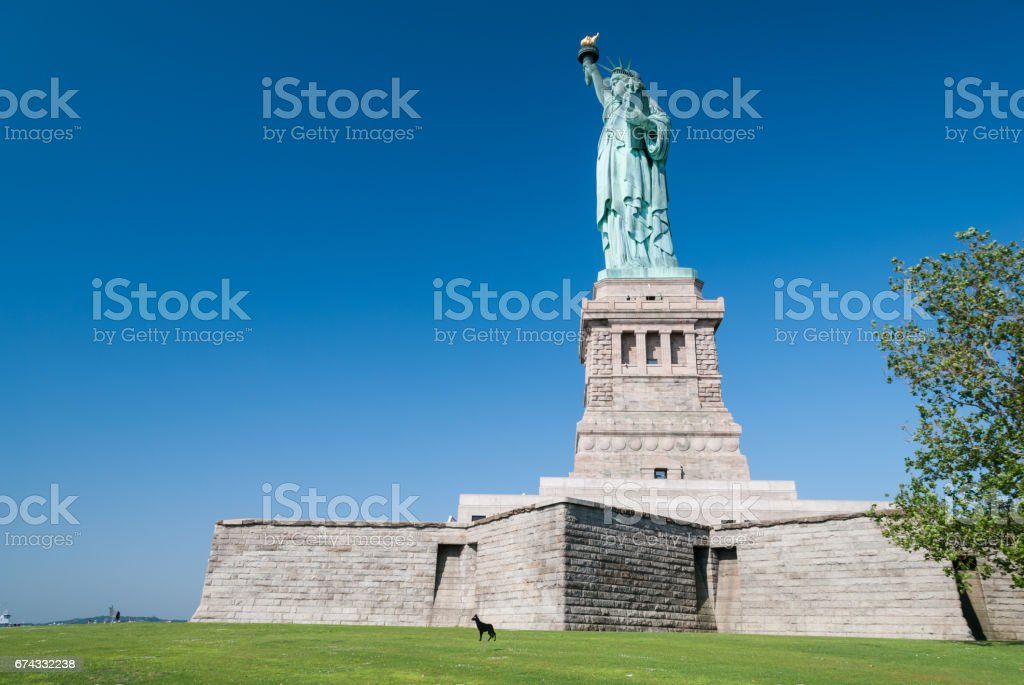 Statue of Liberty complete structure stock photo