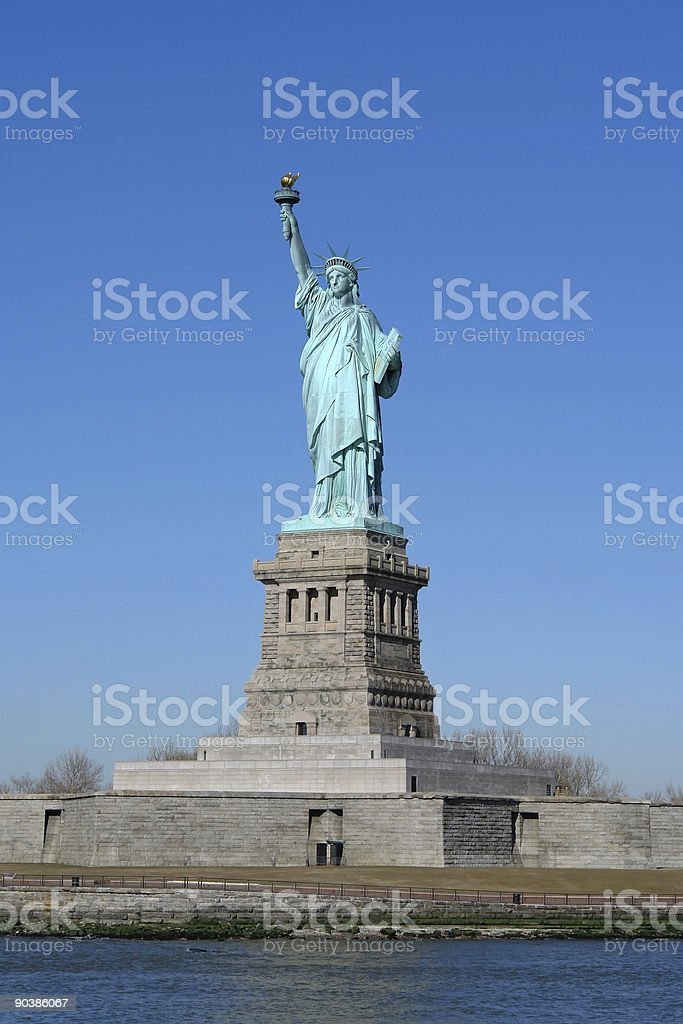 Statue of Liberty from boat royalty-free stock photo