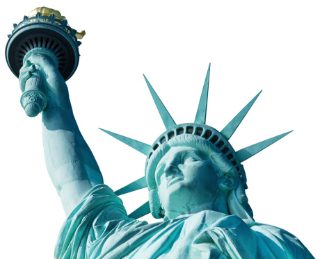iconic Statue of Liberty in New York isolated