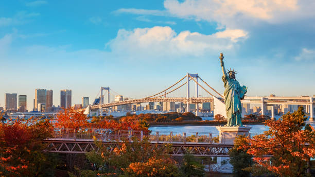 Statue of Liberty in Odaiba area, Tokyo, Japan stock photo