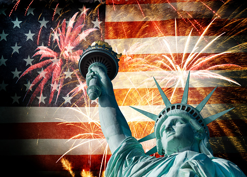 182764873 istock photo Statue Of Liberty Infront Of American Flag With Fireworks 495871133