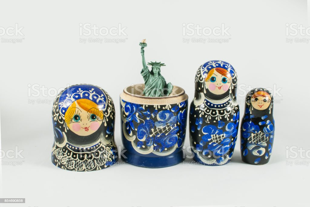 Statue of Liberty inside of Russian nesting doll stock photo
