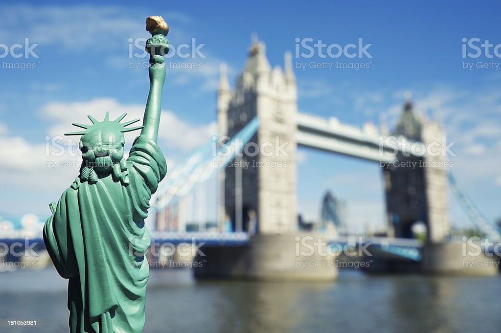 Statue of Liberty is a Tourist at Tower Bridge London stock photo