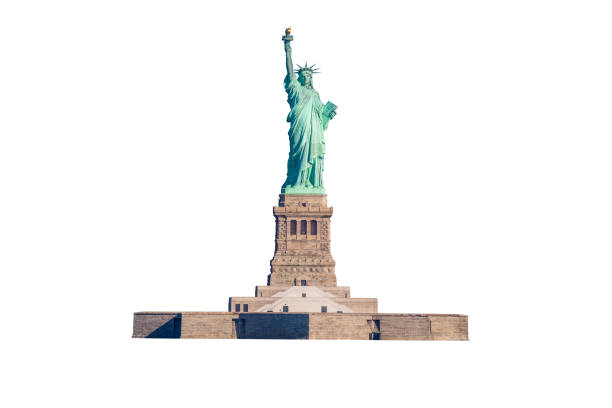 Statue of Liberty Isolated on White, New York City, USA. stock photo