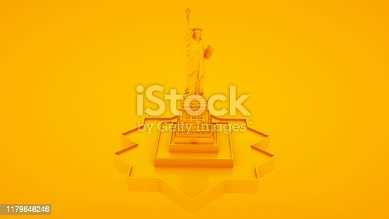 450754061 istock photo Statue of Liberty isolated on yellow background. 3d Illustration 1179646246