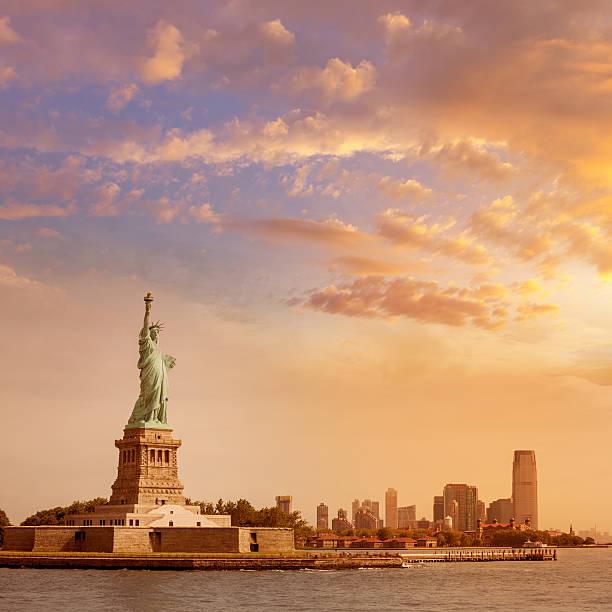 Statue of Liberty New York and Manhattan USA stock photo