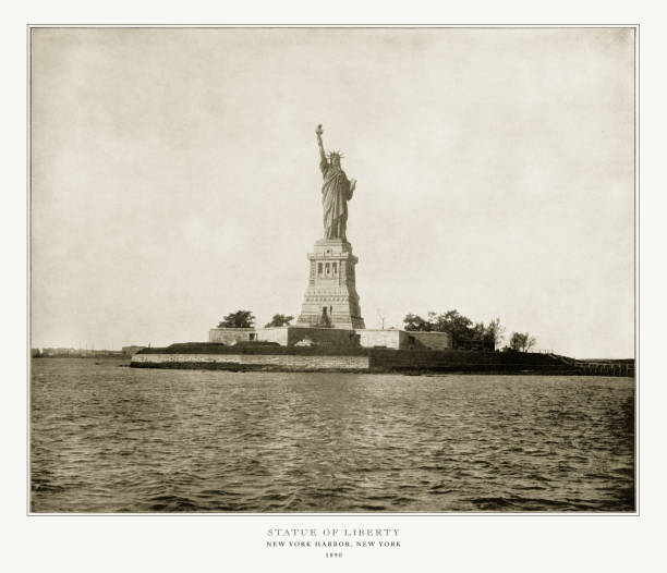 Statue of Liberty, New York Harbor, New York, United States, Antique American Photograph, 1893 Antique American Photograph: Statue of Liberty, New York Harbor, New York, United States, 1893: Original edition from my own archives. Copyright has expired on this artwork. Digitally restored. 1890 stock pictures, royalty-free photos & images
