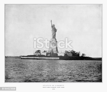 Antique American Photograph: Statue of Liberty, New York Harbor, New York, United States, 1893: Original edition from my own archives. Copyright has expired on this artwork. Digitally restored.