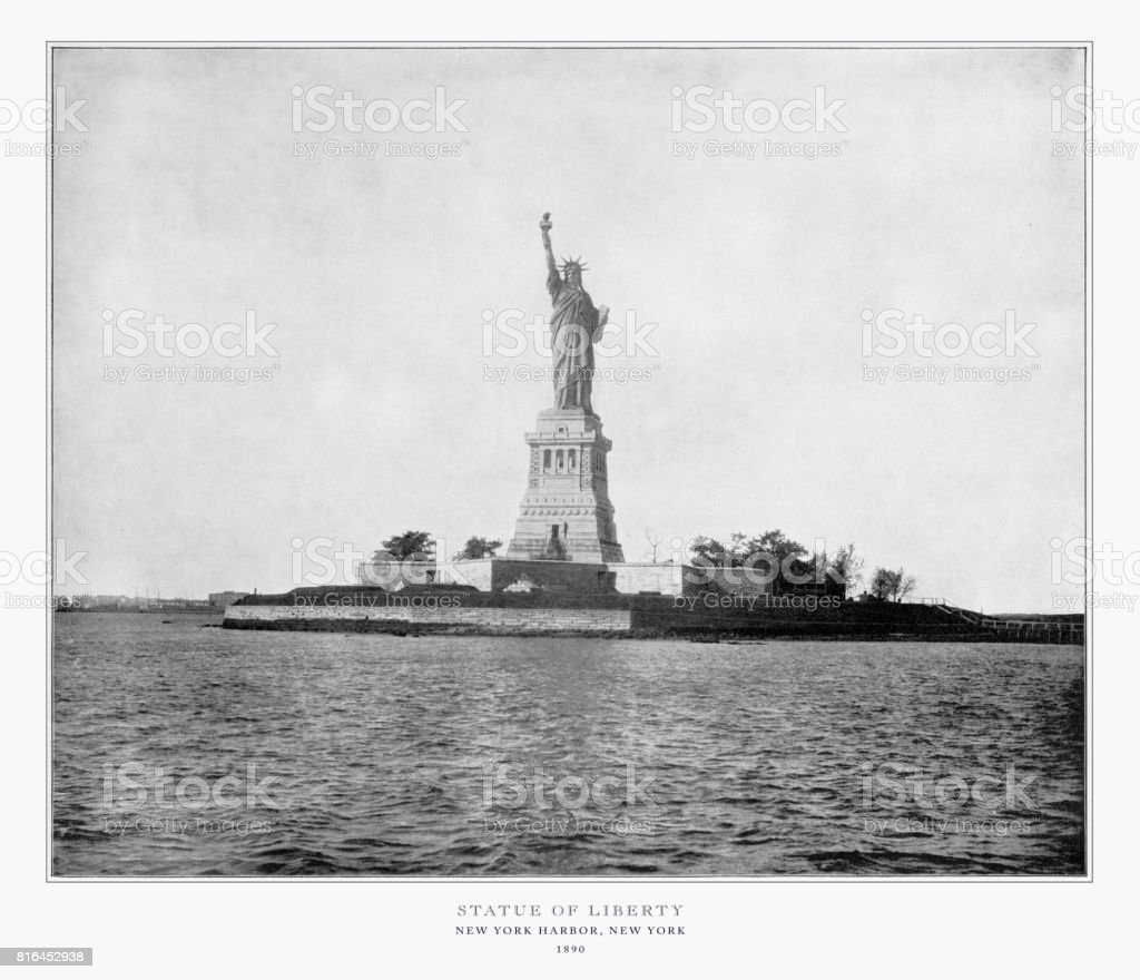 Statue of Liberty, New York Harbor, New York, United States, Antique American Photograph, 1893 stock photo