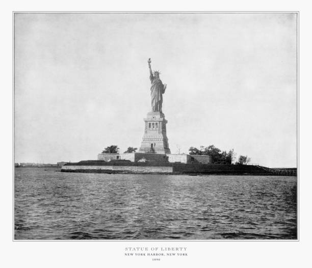 Statue of Liberty, New York Harbor, New York, United States, Antique American Photograph, 1893 Antique American Photograph: Statue of Liberty, New York Harbor, New York, United States, 1893: Original edition from my own archives. Copyright has expired on this artwork. Digitally restored. 1900 stock pictures, royalty-free photos & images