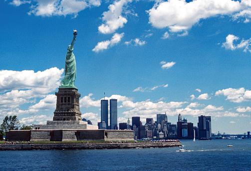 Statue of Liberty & New York Skyline  June 1987. Scanned from Kodachrome 64 slide.