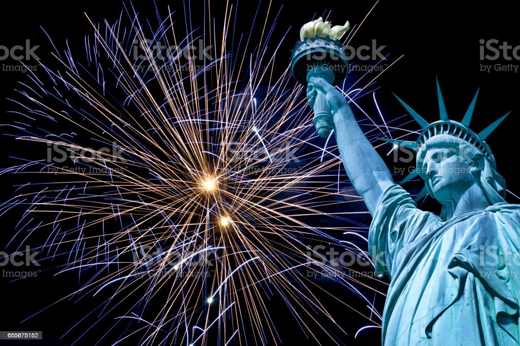 Statue of Liberty, night sky with fireworks, New York, USA stock photo