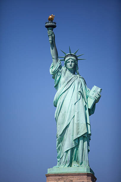 Statue of Liberty on a sunny day. stock photo