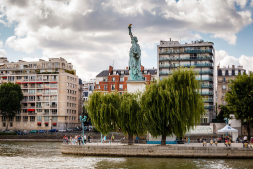 Statue of Liberty on Cygnes Island in Paris, France